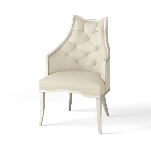 Logan Arm Chair-Antique White-Milk Leather