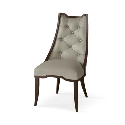 Logan Dining Chair-Walnut-Chesterfield Grey Leather