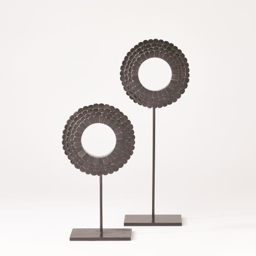 Four Layer Horn Scalloped Mounted Rings-Black