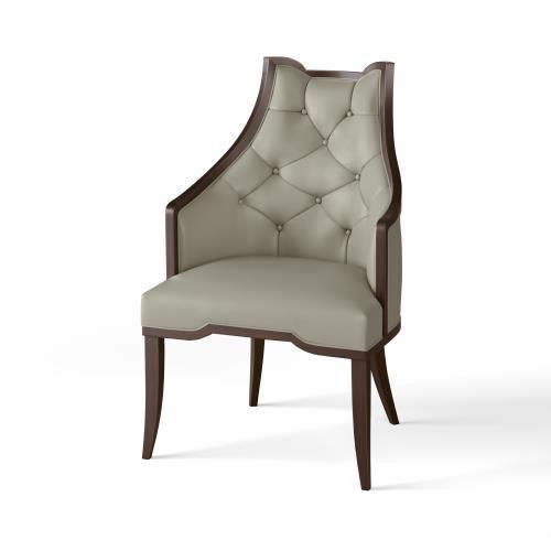 Logan Arm Chair-Walnut-Chesterfield Grey Leather