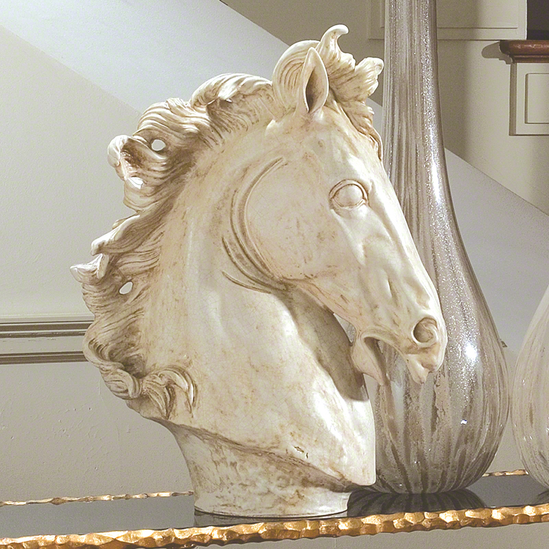 GLOBAL VIEWS | products | Lg Horse Head Sculpture-Marble ...