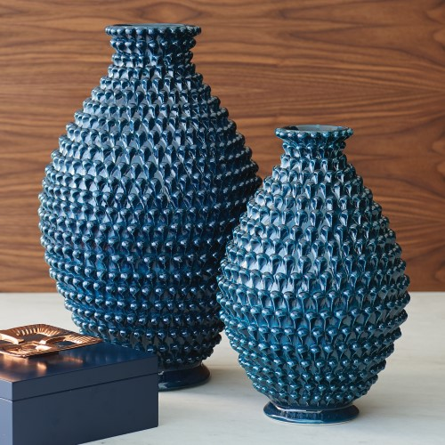 Global Views Products Pinecone Vase Cobalt