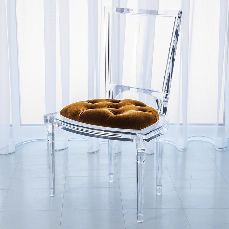 Marilyn Acrylic Side Chair-Brown Sugar-Gold