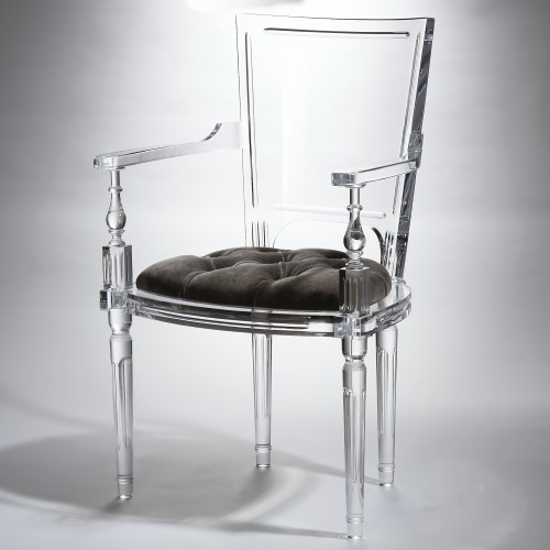 Marilyn Acrylic Arm Chair-Pewter-Grey