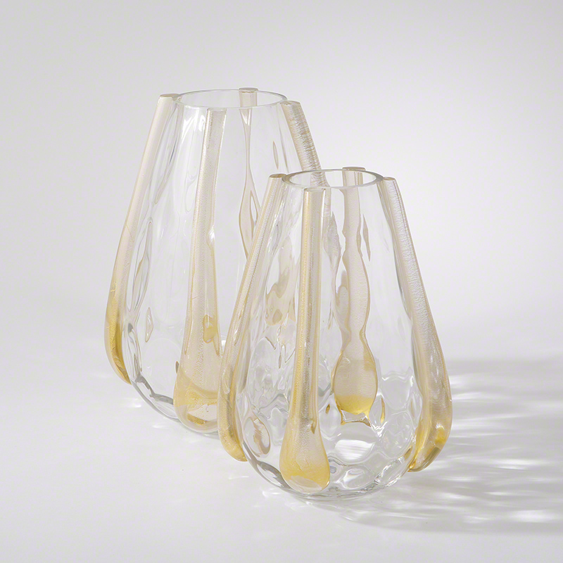 Venus Vase-Clear w/Gold Ribs