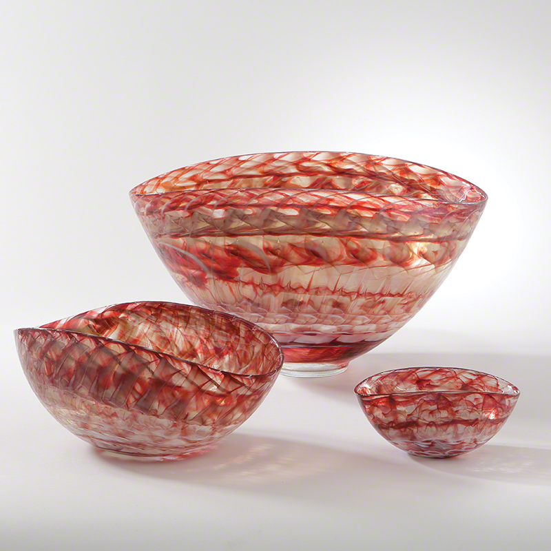 Red Swirl Oval Bowl