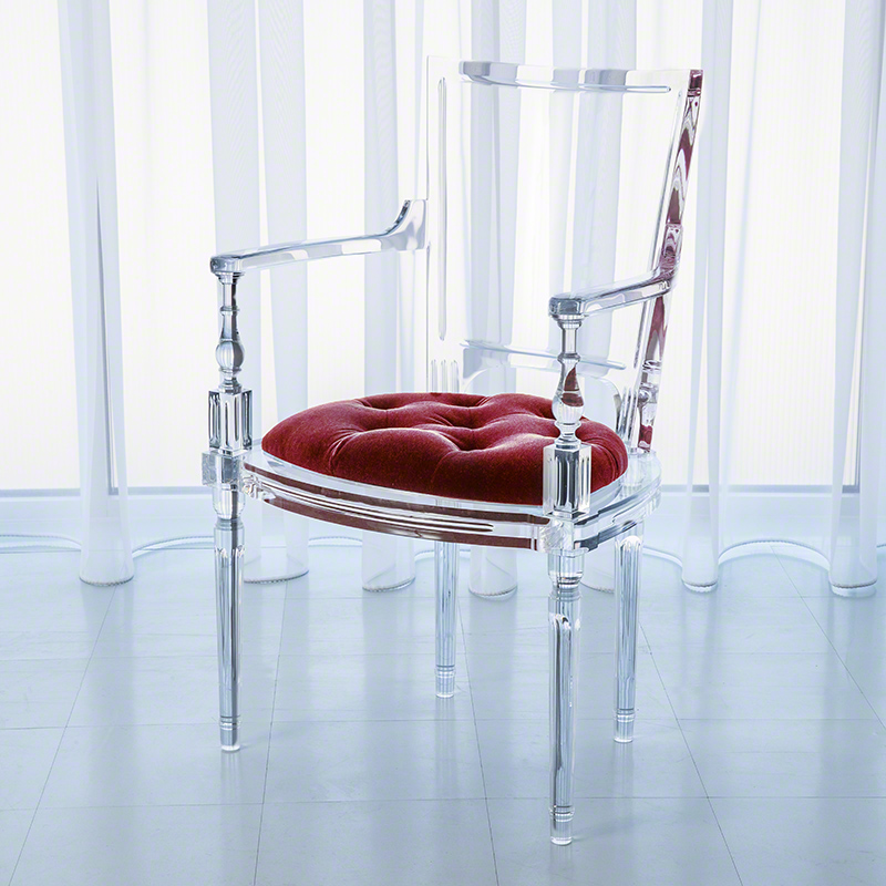Marilyn Acrylic Arm Chair-Red Pepper