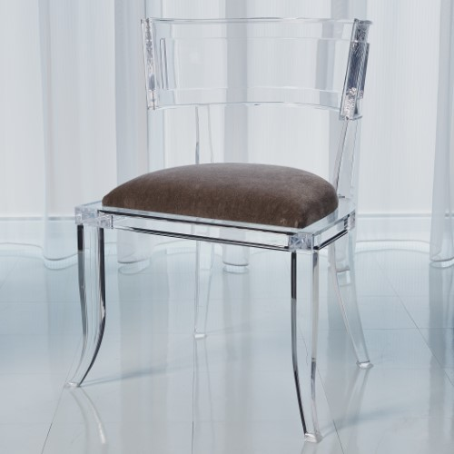 Klismos Acrylic Chair-Pewter
