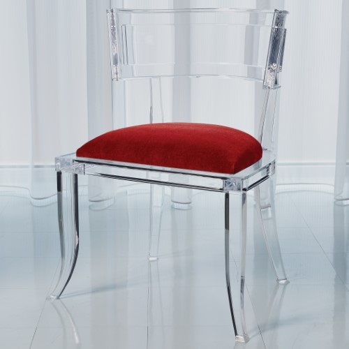 Klismos Acrylic Chair-Red Pepper