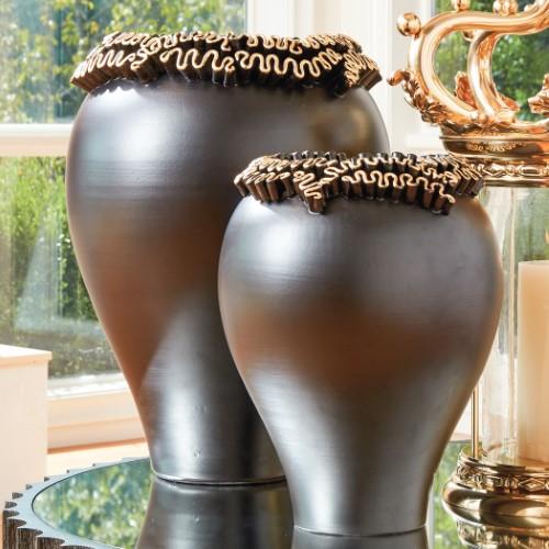 Squiggles Vase-Black w/Gold Leaf