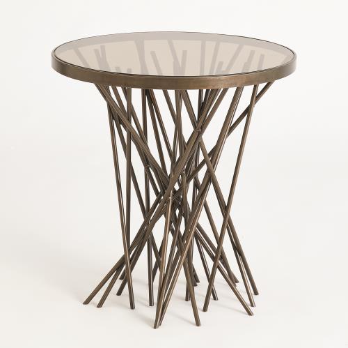 Stix Side Table w/Bronze Glass-Forest Black