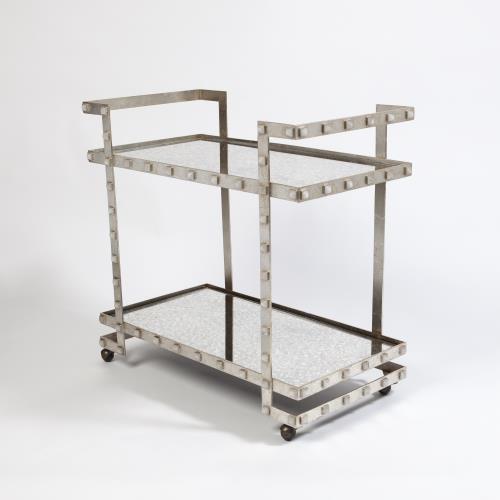 Quartz Stud Bar Cart-Silver Leaf