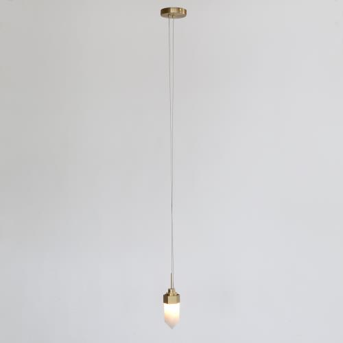Leo Pendant-Single Drop-Satin Brass-Lg