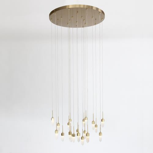 Leo Chandelier-20 Drop Round-Satin Brass