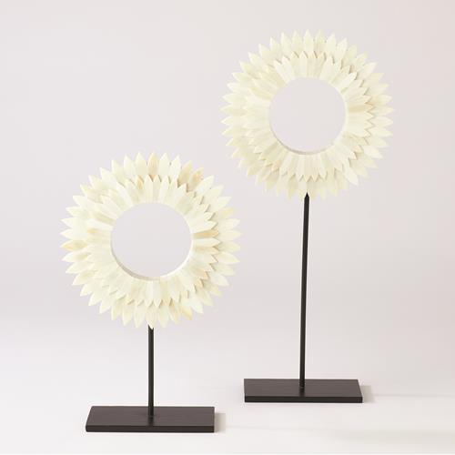 Two Layer Bone Sunburst Mounted Rings-White