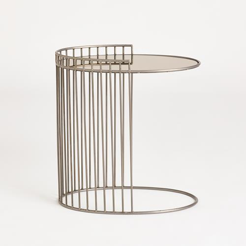 Oval Side Table w/Bronze Mirror-Natural Iron