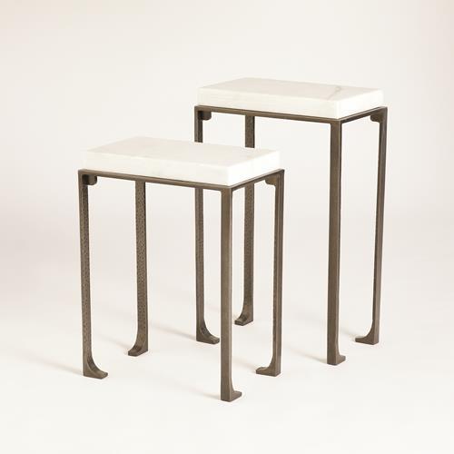 Zen Side Tables w/White Honed Marble-Light Gunmetal