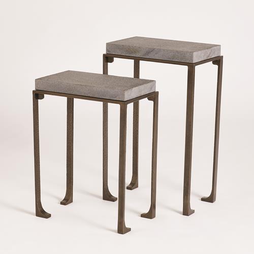 Zen Side Tables w/Flamed Granite-Forest Black