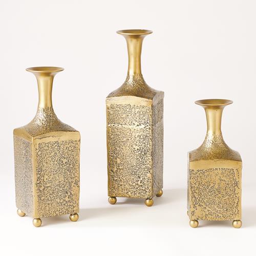 Aluminum Bottle Vase-Antique Gold