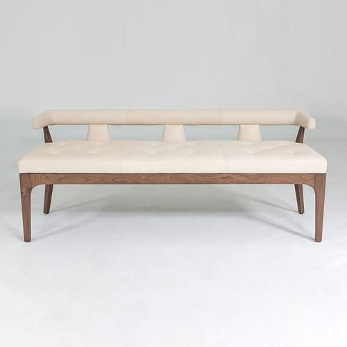 Moderno Bench - Ivory Marble Leather
