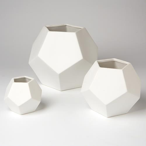 Faceted Vase-White