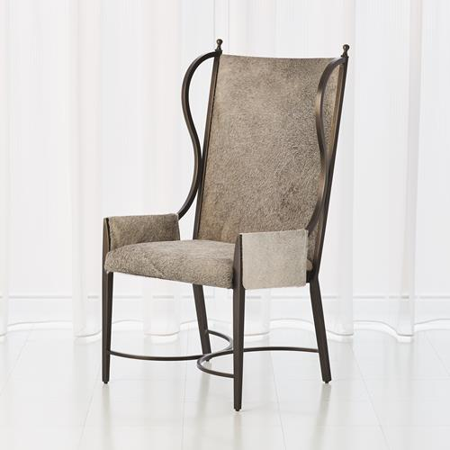 Iron Wing Chair w/Grey Hair-on-Hide
