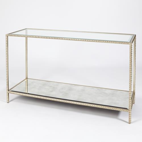 Stud Console Table-Silver Leaf