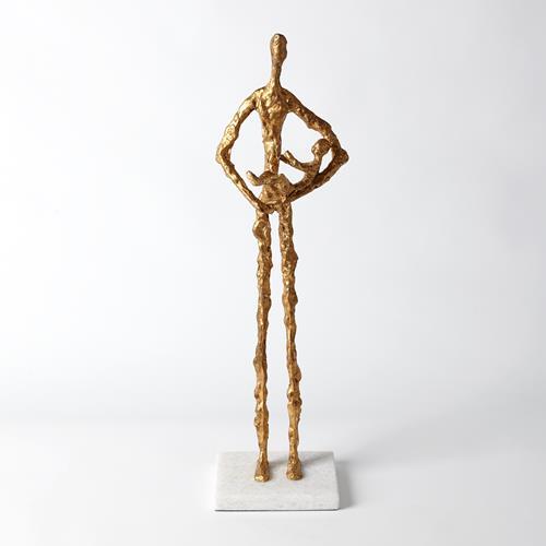 Standing Mother Cradling Child Sculpture-Gold Leaf