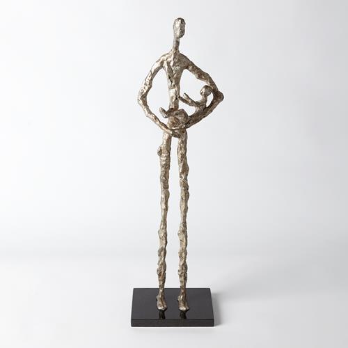 Standing Mother Cradling Child Sculpture-Silver Leaf