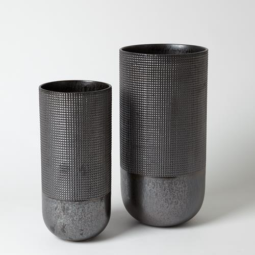 Grid Round Vase-Metallic