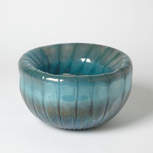 Tear Drop Folded Bowl - Turquoise/Metallic