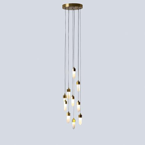 Leo Pendant-10 Drop Round-Satin Brass