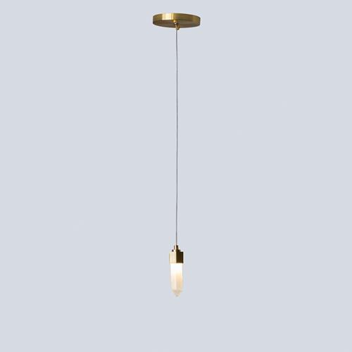 Leo Pendant-Single Drop-Satin Brass-Sm
