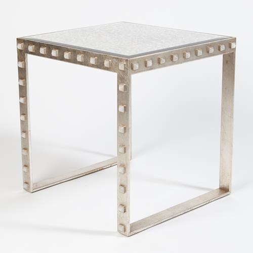 Quartz Stud End Table-Silver Leaf