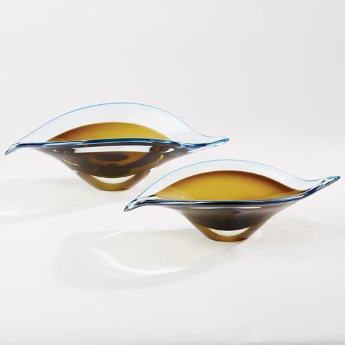 Bent Leaf Bowls-Blue/Amber