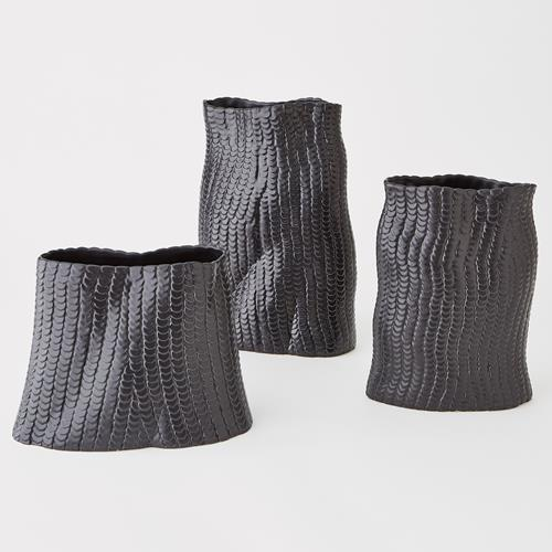 Sequins Vase-Matte Black