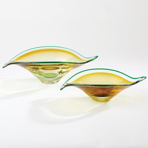 Bent Leaf Bowls-Aqua/Amber