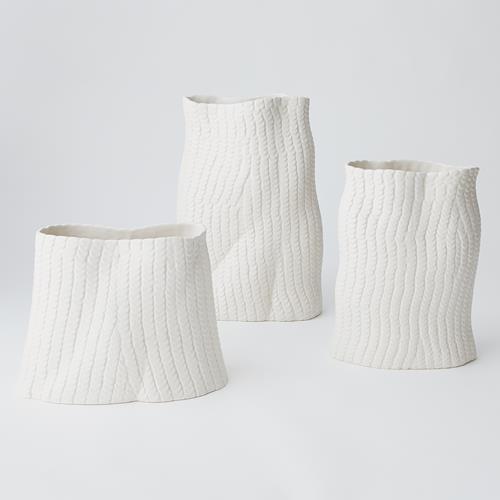 Sequins Vase-Matte White