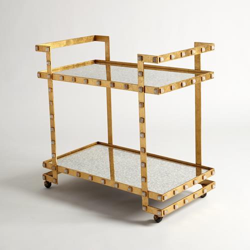 Quartz Stud Bar Cart-Gold Leaf