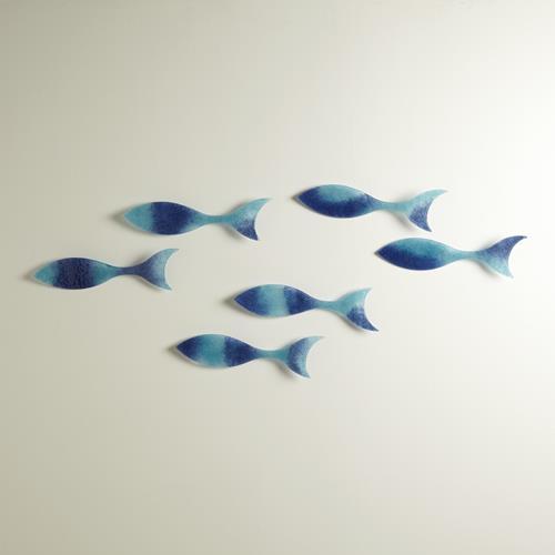 S/6 Wall Fish-Blue-Lg