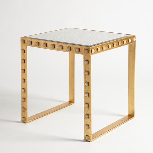 Quartz Stud End Table-Gold Leaf