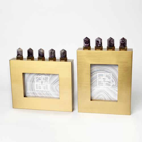 Spear Amethyst Picture Frames-Satin Brass