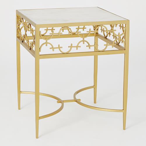 C-Fret Side Table-Gold