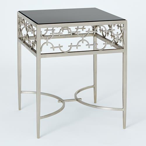 C-Fret Side Table-Silver