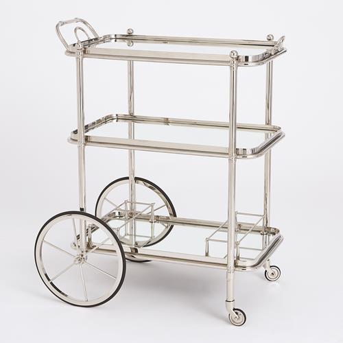 English Bar Cart and Tea Trolley-Nickel
