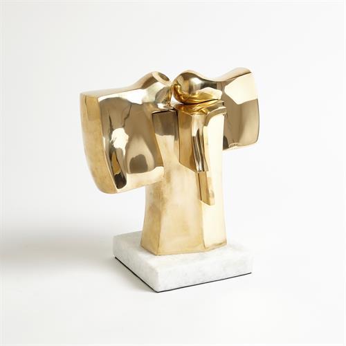 Abstract Dual Figure Sculpture-Brass