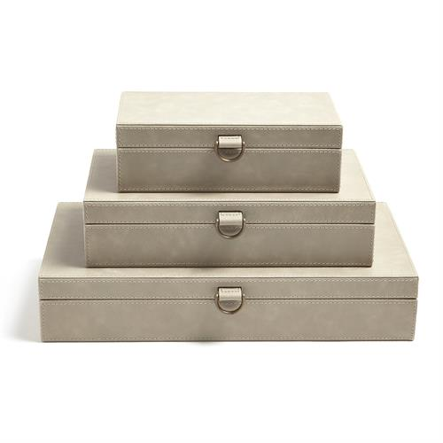 Marbled Leather D Ring Box-Light Grey