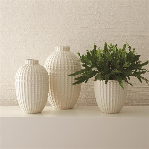 Nail Head Vases-Rustic White