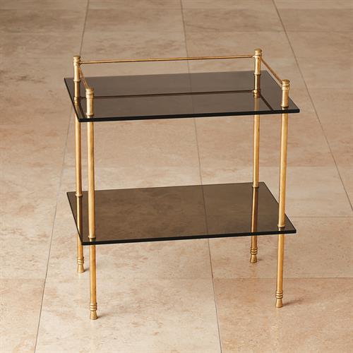 Gallery Table-Gold Leaf w/Smoke Glass