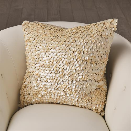 Mother of Pearl Beaded Pillow-Ivory